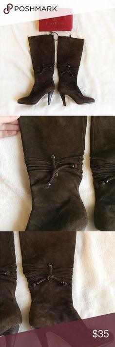 COLE HAAN Brown Suede Knee High Boots 5.5 In great condition. I love them but my work doesn't really allow for heeled boots. There is a tiny scrape on the back of one of the heels. The shoes are barely worn and have lots of life left. Cole Haan Shoes Heeled Boots