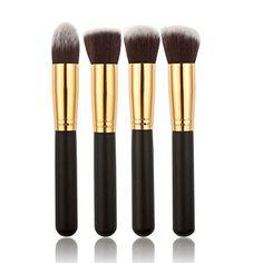 d9afc749119 Ambox 10 Pieces Makeup Brush Set Premium Synthetic Kabuki Cosmetics  Foundation Blending Blush Eyeliner Face Powder Brush Makeup Brush Kit Golden  Black     ...