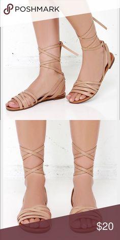 Leg wrap sandal strappy flat Nude leg wrap sandal, super cute excellent condition; free shipping on eBay Lulu's Shoes