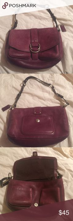 Coach Authentic coach leather bag. Good condition. Beautiful reddish brown color. Roughly 10x10 Coach Bags Shoulder Bags