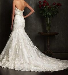 Sexy white / ivory mermaid  wedding dress lace by VEILDRESS, $165.00