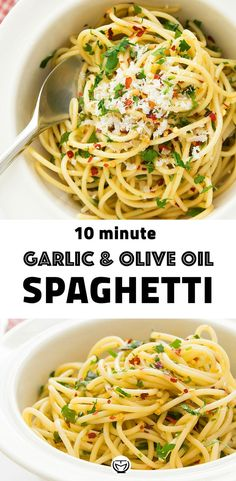 This humble and fragrant spaghetti with garlic and olive oil (Italian aglio e olio) is a classic Italian pasta dish that requires a few cheap ingredients and it's ready in 10 minutes. Easy Pasta Recipes, Spaghetti Recipes, Easy Dinner Recipes, Easy Meals, Cooking Recipes, Garlic Spaghetti, Garlic Pasta, Bean Recipes, Sausage Recipes