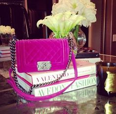 * Chanel Pink Velvet Boy Bag *