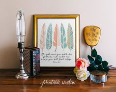 Bible Verse wall art printable Scripture print Christian wall decor feathers, inspirational quote birds Psalm 91:4 INSTANT DOWNLOAD by PrintableWisdom on Etsy https://www.etsy.com/listing/161978560/bible-verse-wall-art-printable-scripture