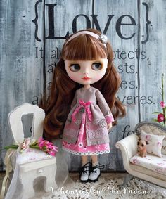 Blythe or Pullip French Chic Long Sleeves Dress with Four-Leaf