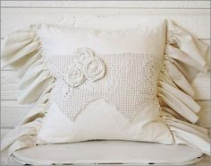 I could use some of Mom's damaged embroidery work to wrap a pillow like this. Christmas gifts?