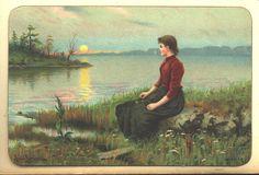 Kvinne i solnedgang. Sign Knud Larsen. Eneret J.F. | by Osterøy Museum