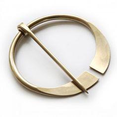 Flared End Penannular Shawl Pin   Brass