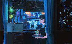 「青に誘われ」くまおり純さんのイラスト。京都の 喫茶店ソワレ。