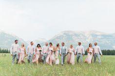 Canmore wedding, mountain wedding, wedding party photo ideas, wedding photography inspiration