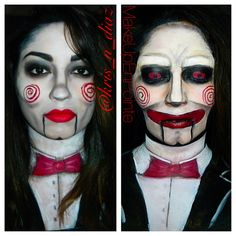 Billy the Puppet/ Jigsaw Makeup  Here's the link to check out how this look came together: https://www.youtube.com/watch?v=rjWmruMmaBU&index=4&list=UUbmEh4yv5zAJ6KuWORRhP8A  Don't forget to like, comment, and subscribe to the MakeUpEnPointe Youtube Channel ;)