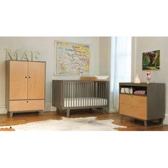 Oeuf Sparrow Two Piece Convertible Crib and Changer Set