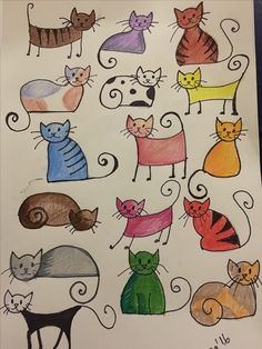 Multiple kitties colored them. Multiple kitties colored them. Multiple kitties colored them. Doodle Drawings, Easy Drawings, Doodle Art, Cat Doodle, Drawing For Kids, Art For Kids, Cute Cat Drawing Easy, Cat Cards, Whimsical Art