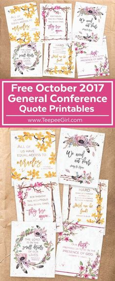 These six FREE watercolor printables feature inspiring quotes from the October 2017 LDS General Conference! Download at www.TeepeeGirl.com.