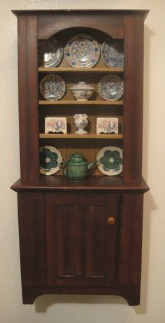 lovely dollhouse miniature cabinet by R Van Dyke filled with china made by Lee-Ann Chellis Wessel - very nice combination collection