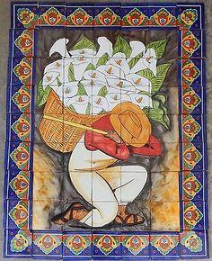 # 27 Mexican Talavera Mural Tile Handmade Folk Art Calla Lily Seller Backsplash