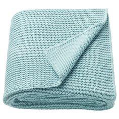 IKEA Throw Light blue: textiles-rugs / blankets-throws Soft knitted throw that feels nice against the skin. Ikea Vallentuna, Cama Ikea, Ikea Sortiment, Plaid Bleu, Ikea Regal, Modular Corner Sofa, Flexible Furniture, Recycling Facility, Nursery Organization