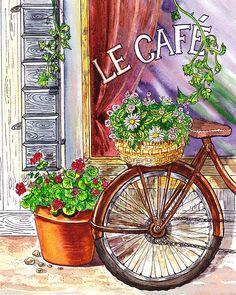 Bicycle at the French Cafe - http://irina-sztukowski.artistwebsites.com/featured/french-cafe-irina-sztukowski.html