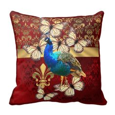 Elegant peacock, butterflies and red and gold damask throw pillow cushions romantic retro inspired  home decor ideas.