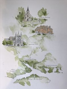 Map of Jane Austen's Hampshire - custom watercolour commission www.thesuburbanartist.co.uk Watercolor Journal, Watercolor Sketch, Watercolor Landscape, Sketch Journal, City Maps, Cartography, Map Illustrations, Vintage World Maps, Illustrated Maps
