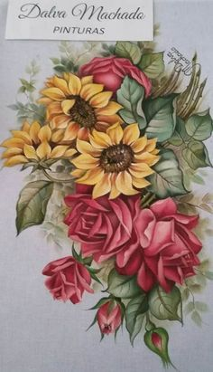 Fall Canvas Painting, Fabric Painting, Art Floral, Decoupage Jars, Flower Art Images, Flower Art Drawing, Fabric Paint Designs, Hand Painted Fabric, Beautiful Flowers Wallpapers