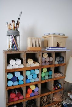 Craft Storage idea for those pesky paint bottles!  John could make a small one of these for our smaller paint bottles...