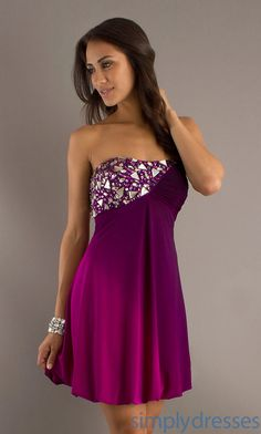Short Strapless Ombre Dress, Homecoming Dresses - Simply Dresses