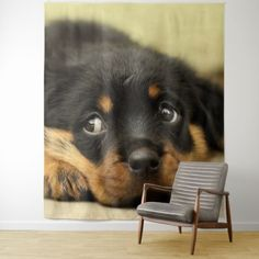Cute rottweiler puppy tapestry - black and white gifts unique special b&w style