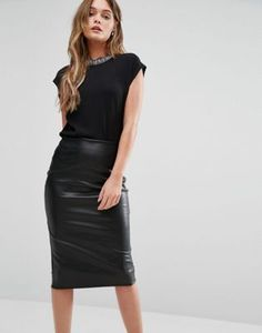 New Look Embellished Neck Shell Top at ASOS. Shop this season's must haves with multiple delivery and return options (Ts&Cs apply). Shell Tops, All Black, New Look, Leather Skirt, Latest Trends, Shells, Asos, Skirts, Stuff To Buy