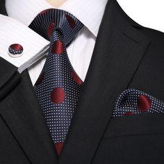 Blue and Burgundy Silk Necktie Set JPM18E06