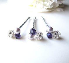 Purple Hair Pins Swarovski Crystal and Pearl by BellaMiaDesign, $19.00