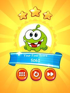 CUT the ROPE 2   Results Screen   UI, HUD, User Interface, Game Art, GUI, iOS, Apps, Games, Grahic Desgin, Puzzle Game, Brain Games, Zeptolab   www.girlvsgui.com