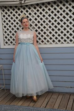 1950s Delicate Blue and White Dress by LetThemEatCakeLA on Etsy...where's my crinoline?