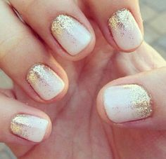 White Nails with Gold Sparkles