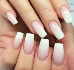 White and nude ombré nails