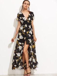 Black Floral Deep V Neck Self Tie Warp Dress