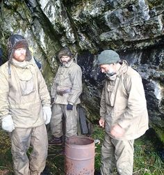 Barry Gray, Ed Wardle and Tim Jarvis sheltering in a cave on South Georgia prior to mountain crossing.