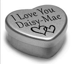 I Love You Daisy-Mae Mini Heart Tin Gift For I Heart Daisy-Mae With Chocolates #GiftInCan #AnyOccasion