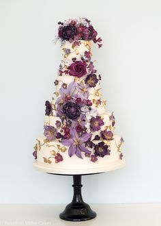 Purple Cascade Wedding Cake