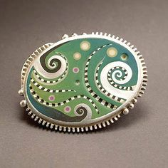 Ocean Depths Belt Buckle - Saul Bell Awards Finalist - Fine silver, sterling, polymer clay  - from the Land of Oz.