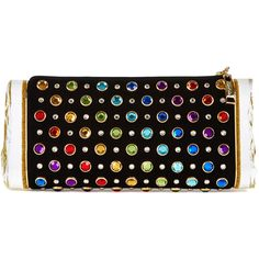 Edie Parker Lara Swarovski-embellished suede clutch ($1,630) ❤ liked on Polyvore featuring bags, handbags, clutches, multi colored handbags, colorful clutches, glitter clutches, edie parker clutches and embellished purses