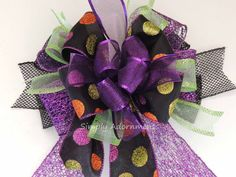 Black Purple Halloween Wreath Bow Halloween by SimplyAdornmentsss