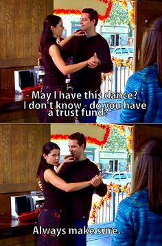 Lorelai and Christopher showing Rory and Dean how to dance
