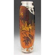 Rookwood vase, large cylindrical shape in a Standard glaze with a raised and painted oak leaf and acorn design, applied silver overlay with a stylized motif, believed to be executed by Kataro Shirayamadani in x Sep 15, Art Nouveau, Art Deco, Rookwood Pottery, Crystal Glassware, China Painting, Drinking Tea, Pottery Art, Overlays