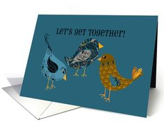 Let's Get Together! Blue and Gold Paisley Swirls Birds Invitation card