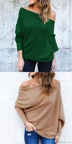 8052056686e Suéter largo de la capa de las mujeres atractivas del hombro del murciélago   sweater