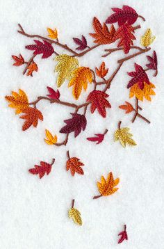 Brilliant Autumn Leaves Falling Embroidered Flour Sack Hand/Dish Towel