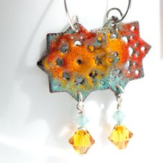 Chandelier Enamel Earrings Gypsy Hippie Oranges by BloomingEnamels