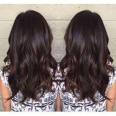 Subtle balayage on dark hair Hair Color And Cut, Brown Hair Colors, Brunette Hair Colors, Dark Brunette Hair, Hair Colours, Ombré Hair, New Hair, Balayage Hair, Subtle Balayage