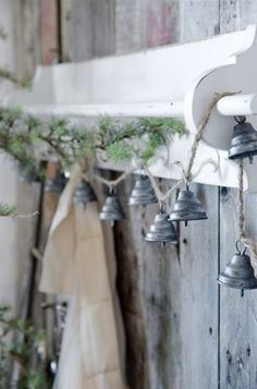 bells on jute string accented by pine.